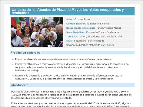 Screenshot de Secuencia Didáctica #14425 - La lucha de las Abuelas de Plaza de Mayo: los nietos recuperados y restituidos