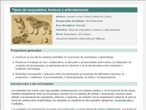 Screenshot de Secuencia Didáctica #14377 - Tipos de esqueletos. Huesos y articulaciones