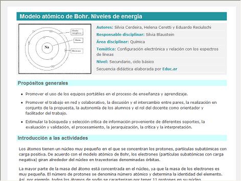 Screenshot de Secuencia Didáctica #15044 - Modelo atómico de Bohr. Niveles de energía