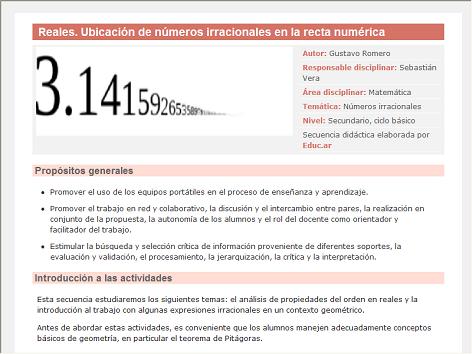 Screenshot de Secuencia Didáctica #15199 - Reales. Ubicación de números irracionales en la recta numérica
