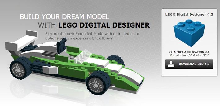 Auto de Fórmula Uno construido con ladrillos virtuales de Lego.