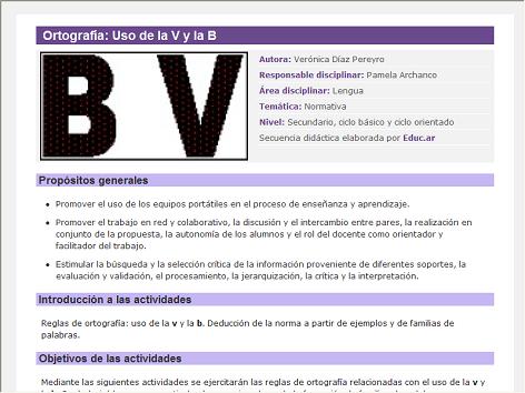 Screenshot de Secuencia Didáctica #14899 - Ortografía: Uso de la V y la B