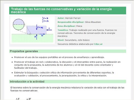 Screenshot de Secuencia Didáctica #14595 - Trabajo de las fuerzas no conservativas y variación de la energía mecánica