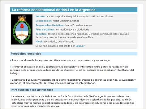 Screenshot de Secuencia Didáctica #14431 - La reforma constitucional de 1994 en la Argentina