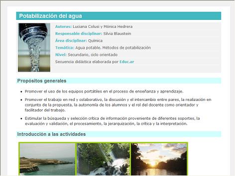 Screenshot de Secuencia Didáctica #15061 - Potabilización del agua