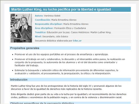 Screenshot de Secuencia Didáctica #15169 - Martin Luther King, su lucha pacífica por la libertad e igualdad