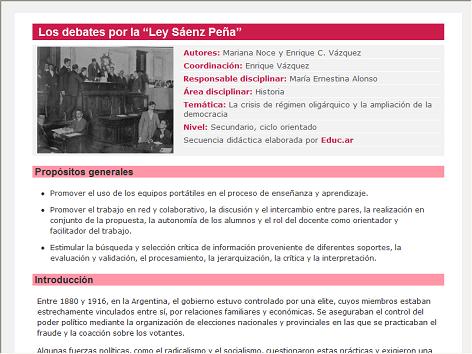 Screenshot de Secuencia Didáctica #14752 - Los debates por la