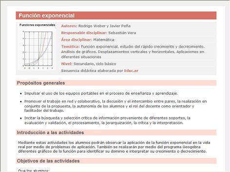 Screenshot de Secuencia Didáctica #14953 - Función exponencial