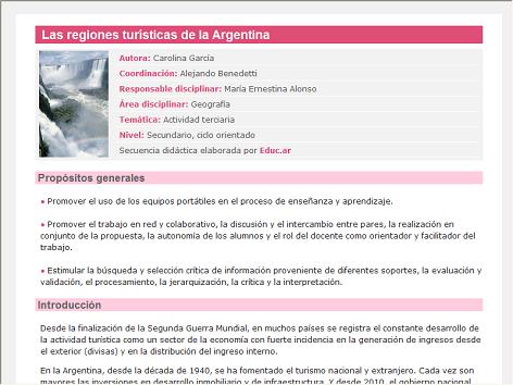 Screenshot de Secuencia Didáctica #14647 - Las regiones turísticas de la Argentina