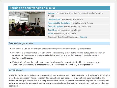 Screenshot de Secuencia Didáctica #14457 - Normas de convivencia en el aula