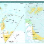 Mapa político de la provincia de Tierra del Fuego, Antártida e islas del Atlántico Sur