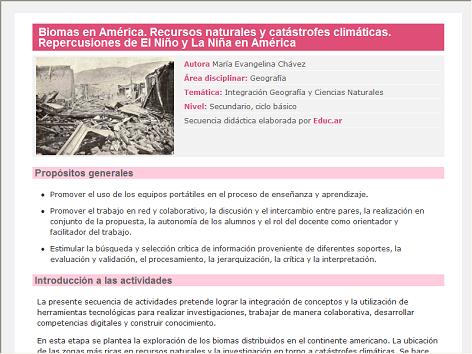 Screenshot de Secuencia Didáctica #15286 - Biomas en América. Recursos naturales y catástrofes climáticas. Repercusiones de El Niño y La Niña en América