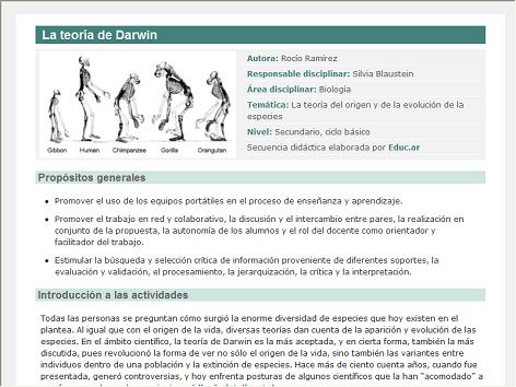 Screenshot de Secuencia Didáctica #15123 - La teoría de Darwin
