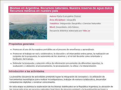 Screenshot de Secuencia Didáctica #15287 - Biomas en Argentina. Recursos naturales. Nuestra reserva de agua dulce. Recursos mineros en nuestro país