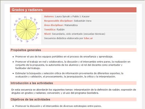 Screenshot de Secuencia Didáctica #15196 - Grados y radianes