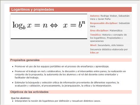 Screenshot de Secuencia Didáctica #14967 - Logaritmos y propiedades
