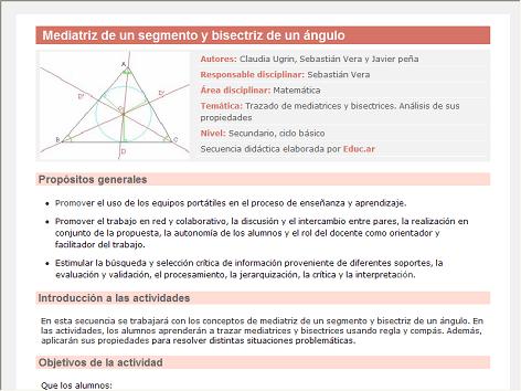 Screenshot de Secuencia Didáctica #14969 - Mediatriz de un segmento y bisectriz de un ángulo