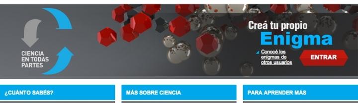 Portada del sitio Ciencia en todas partes, de desafíos científicos. Captura de pantalla.