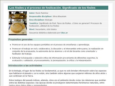 Screenshot de Secuencia Didáctica #14349 - Los fósiles y el proceso de fosilización. Significado de los fósiles