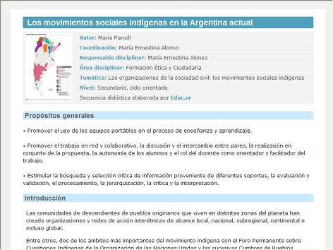 Screenshot de Secuencia Didáctica #14455 - Los movimientos sociales indígenas en la Argentina actual