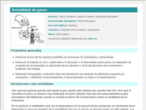 Screenshot de Secuencia Didáctica #15070 - Solubilidad de gases