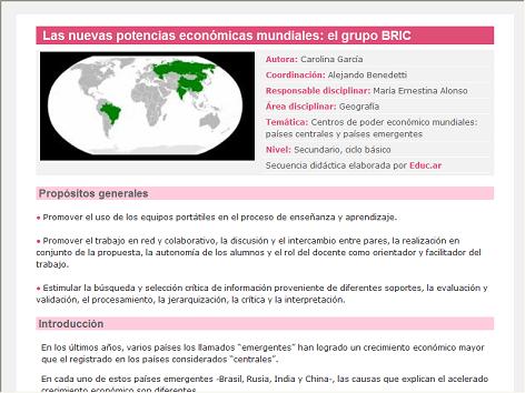 Screenshot de Secuencia Didáctica #14645 - Las nuevas potencias económicas mundiales: el grupo BRIC