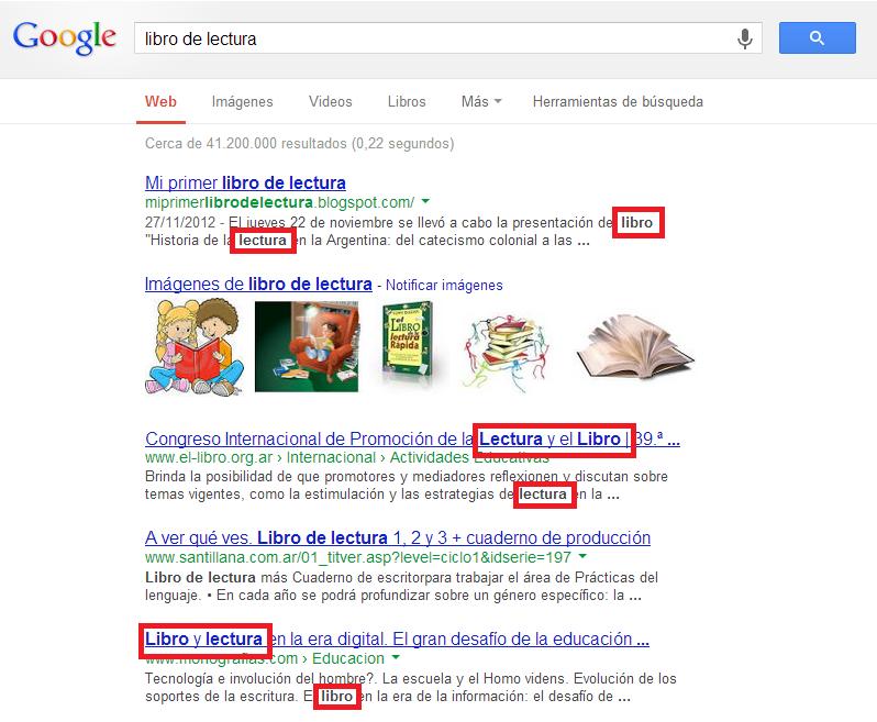 Captura de pantalla: búsqueda en Google de -libro  de lectura-.