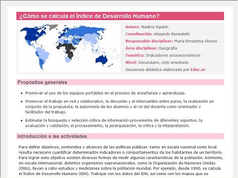 Screenshot de Secuencia Didáctica #14607 - ¿Cómo se calcula el Índice de Desarrollo Humano?