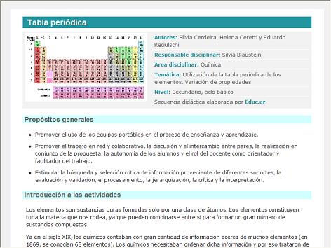 Screenshot de Secuencia Didáctica #15077 - Tabla periódica