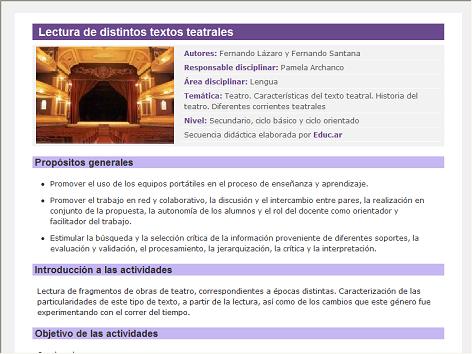 Screenshot de Secuencia Didáctica #14872 - Lectura de distintos textos teatrales