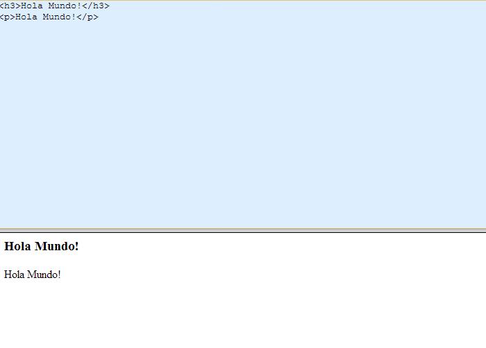 Captura de pantalla del sitio real-time HTML editor. Se ve una pantalla de computadora dividida en dos mitades horizontales. En la superior, de fondo celeste, podemos ver escrito un código HTML. En la parte inferior, sobre un fondo blanco, se puede ver el resultado del código HTML: en este caso la frase ¡Hola Mundo!