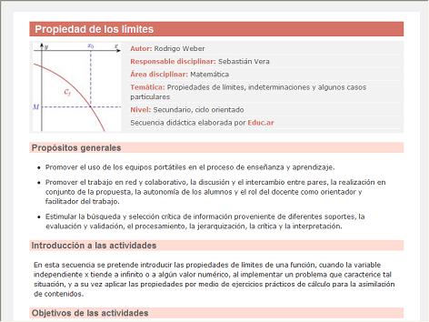 Screenshot de Secuencia Didáctica #15209 - Propiedad de los límites