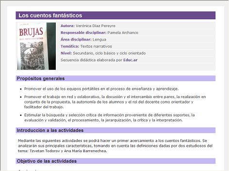Screenshot de Secuencia Didáctica #14879 - Los cuentos fantásticos