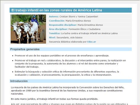 Screenshot de Secuencia Didáctica #15151 - El trabajo infantil en las zonas rurales de América Latina