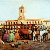 La diligencia frente al Cabildo en la Plaza de la Victoria. Autor Carnacini