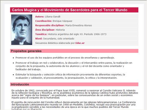 Screenshot de Secuencia Didáctica #14707 - Carlos Mugica y el Movimiento de Sacerdotes para el Tercer Mundo