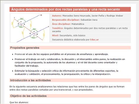 Screenshot de Secuencia Didáctica #14919 - Ángulos determinados por dos rectas paralelas y una recta secante