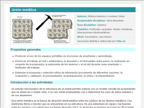 Screenshot de Secuencia Didáctica #15083 - Unión metálica