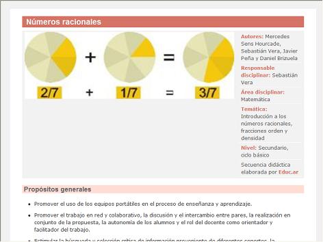 Screenshot de Secuencia Didáctica #15200 - Números racionales