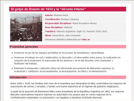 Screenshot de Secuencia Didáctica #14712 - El golpe de Estado de 1930 y la