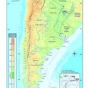 Mapa físico altibamétrico de la República Argentina