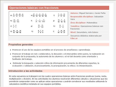 Screenshot de Secuencia Didáctica #14982 - Operaciones básicas con fracciones