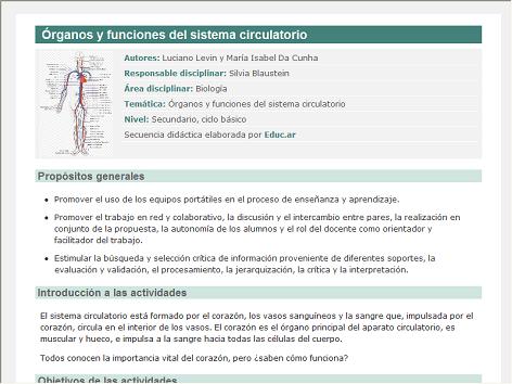 Screenshot de Secuencia Didáctica #15117 - Órganos y funciones del sistema circulatorio