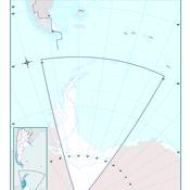 Mapa mudo político de Tierra del Fuego, Anártida e islas del Atlántico Sur