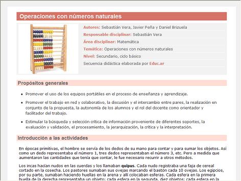 Screenshot de Secuencia Didáctica #14983 - Operaciones con números naturales
