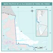 Mapa mudo político de la Isla Grande de Tierra del Fuego