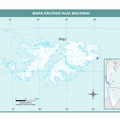 Mapa mudo político de las Islas Malvinas