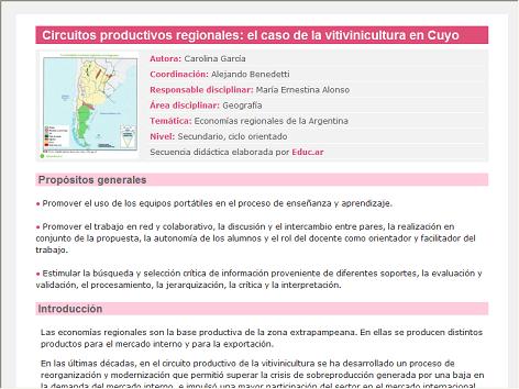Screenshot de Secuencia Didáctica #14613 - Circuitos productivos regionales: el caso de la vitivinicultura en Cuyo