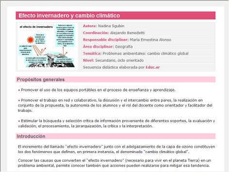 Screenshot de Secuencia Didáctica #14620 - Efecto invernadero y cambio climático