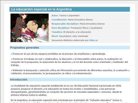 Screenshot de Secuencia Didáctica #15147 - La educación especial en la Argentina